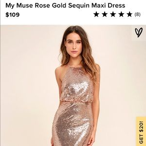 My Muse Rose Gold Sequin Maxi Dress